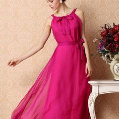 Elegant Newly Pure Color Long Chiffon Dresses Rose Blue