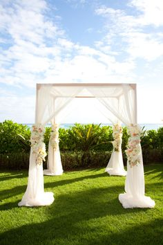 Honolulu Wedding by Steven Lam Photography Outdoor Wedding Canopy. Wedding Ceremony Ideas, Ceremony Decorations, Beach Ceremony, Ceremony Arch, Altar Wedding, Outdoor Ceremony, Garden Wedding, Wedding Wishes, Wedding Bells