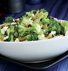 Broccoli Salad with Feta, Olive-Oil-Fried Almonds & Currants