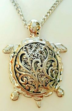 Silver Tone Sea Turtle Necklace and Earring Set Fashion Jewelry USA Seller #Unbranded