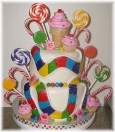 Candy Land cake @Chandra Sale remember when we tried to make a life size game board!? #goodtimes