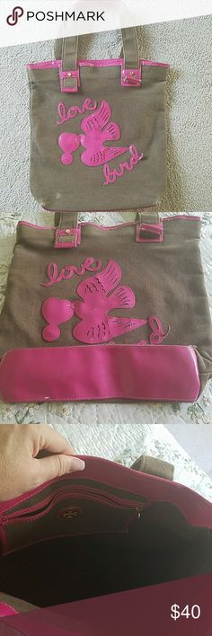 Tory Burch canvas tote with patent love bird Tory Burch canvas tote with patent love bird Tory Burch Bags Totes