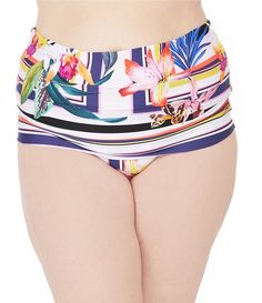 M L XL jcp Print Shirred Multi Side-Tab Hipster Yellow Swim Bottoms Sizes S
