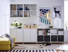 IKEA furniture and home accessories are practical, well designed and affordable. Here you can find your local IKEA website and more about the IKEA business idea. Ikea Office Storage, Couch Storage, Storage Shelves, Storage Organization, Storage Ideas, Home Living Room, Living Room Designs, Ikea Wall Cabinets, Trofast Ikea