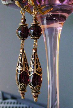 Retro Jewelry Sangria from Olivous Retro Jewelry - Olivous Retro's neo-victorian drop earrings. Made from new vintage garnet glass beads with patina solid brass findings Wire Jewelry, Jewelry Crafts, Beaded Jewelry, Jewellery, Jewelry Ideas, Jewelry Bracelets, Jewelry Accessories, Custom Jewelry, Handmade Jewelry
