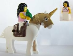 LEGO Princess Minifigure on Unicorn Horse with Her Green Frog For Kingdom or Castle by LEGO. $24.48. Saddle color may vary-  brown or blue. White horse has gold armor, saddle and gold unicorn horn. Princess with pretty detail on tunic. Includes a frog who can be her prince!. It's equal opportunity in Castle or Kingdom land, this Princess and her frog can join you in many adventures and re-enactments of the Princess and the Frog and you can turn him into a prince!