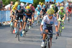 Nairo Quintana attacks the GC group during stage 14.