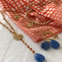 A sub-collection of Sunrise represents eternal life and light. Inspired by the Balinese dawn, vibrant oranges collide with royal blues - a reflection of the warm sunshine on the calm sea of the Indonesian island. Unique Bracelets, Annie, Royal Blue, Sunrise, Pendant Necklace, Pure Products, Balinese, Crystals, Earrings