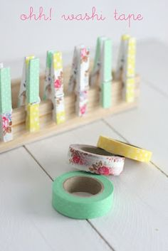 Washi tape clothespins (in art gallery)--if I ever get some washi tape!