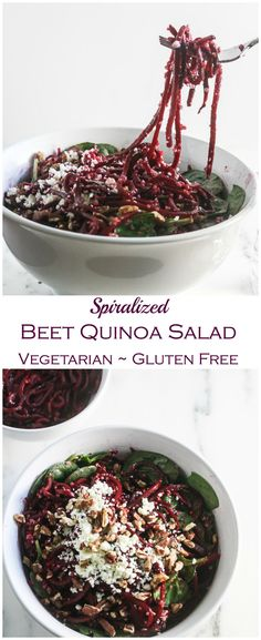 This Spiralized Beet Quinoa Salad is made with wholesome ingredients and is packed with protein, vitamins and minerals! From Lauren Kelly Nutrition