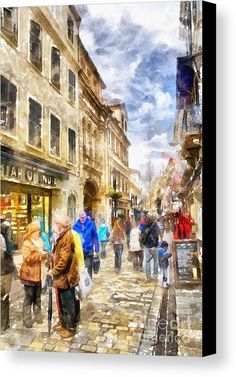Gibraltar - Main Street Canvas Print by Shirley Stalter.  http://1-shirley-stalter.pixels.com/products/gibraltar-main-street-shirley-stalter-canvas-print.html .