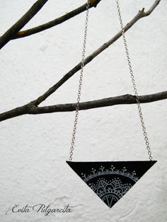 hand painted leather necklace, original design