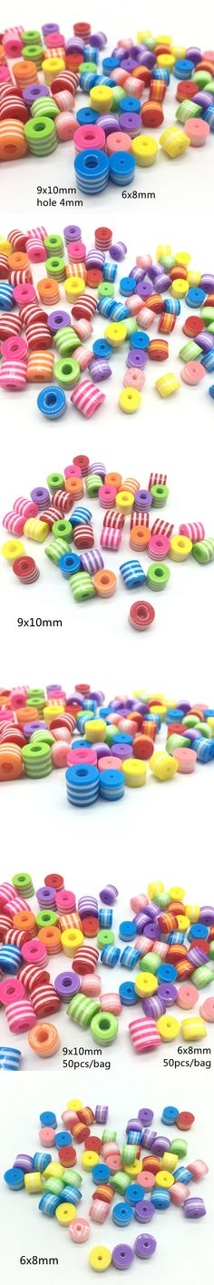 Meideheng resin Circular Cylinder big hole Barrel bead Rainbow Stripe beads Multi color Bracelet accessories New Arrival 9x10mm