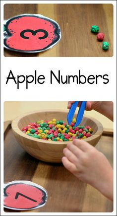 Simple but fun apple number activity for kids! Includes link to a free printable.