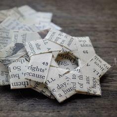stars, folded vintage paper