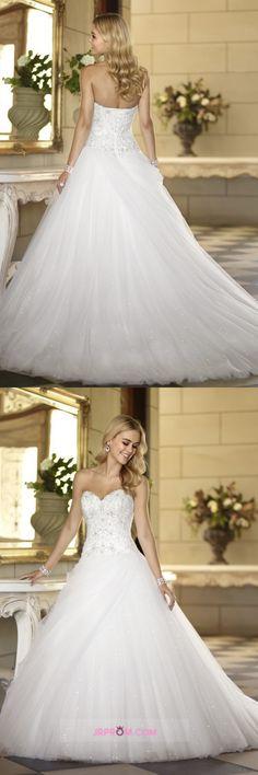 New Arrival Wedding Dresses Sweetheart Beaded Bodice A Line Court Train Tulle Item Code:#JRPSR1HL7B