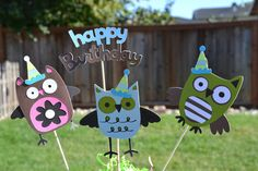 Owl Birthday Party Centerpiece. $7.00, via Etsy.