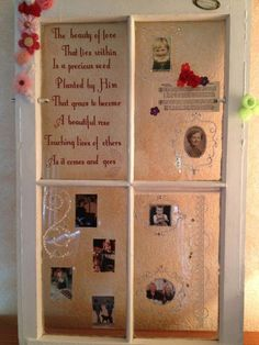 Birthday Party/Gift handmade antique window frame with added flowers, beads, photos and a poem. by Linda