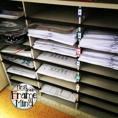 Put an old mailbox sorter under your teacher desk to file and hide papers, crafts, etc for lessons at least 6 weeks in advance! Find purposeful resources and teacher tips here at https://www.pinterest.com/1frameofmind/