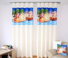 Ostrov s loďou hotové závesy na okná smotanovej farby Curtains, Shower, Prints, Rain Shower Heads, Blinds, Showers, Draping, Picture Window Treatments, Window Treatments