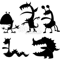 Maniac Monsters! Royalty Free Stock Vector Art Illustration. Something cute with silhoutte. Wonder if you could get one printed in large vinyl wall decal?