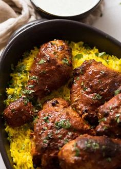 Oven Baked Tandoori Chicken Tandoori Chicken on saffron rice, fresh out of the oven ready to be served Tandoori Chicken Marinade, Best Grilled Chicken Marinade, Pollo Tandoori, Recipe For Tandoori Chicken, Chicken Marinades, Indian Food Recipes, Asian Recipes, Healthy Recipes, Ethnic Recipes