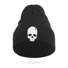 c2700e293ed Cool Embroidery Skull Head Beanies For Men Winter Cap Women s Acrylic Black  Skiing Hat Stretch Hip-Hop Skullies Warm Hats Male