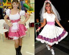 Vestido do estilo tradicional de festa junina, com muitos babados.
