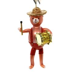 Bear Band With Drum Glass Ornament