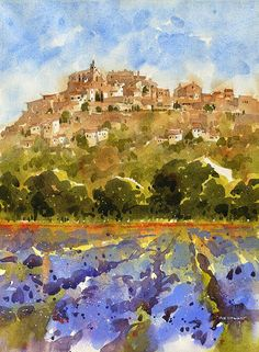 "Iain Stewart Watercolors Gordes with Lavender- Provence 14"" x 10"""