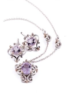 GALACIA DESIGNER JEWELRY -Pink amethyst and diamond earrings and pendant.