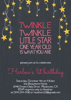 Twinkle Twinkle Little Star Birthday Party by OhHappinessCards