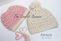 CROCHET HAT PATTERN Twin Pack For the 'Love by KerryJayneDesigns