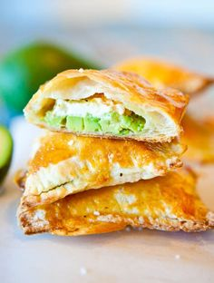 Avocado, Cream Cheese, and Salsa Stuffed Puff Pastries. Great party food.