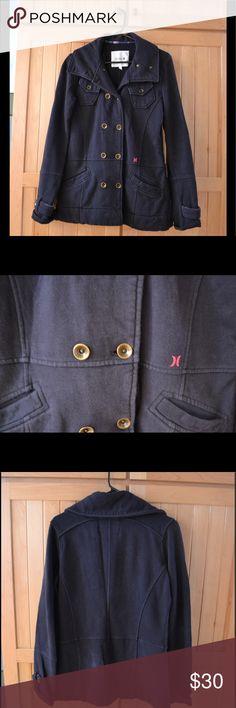 Hurley Military-Style Jacket Hurley navy blue military style jacket, double breasted, pink plaid trim, 100% cotton Hurley Jackets & Coats Pea Coats