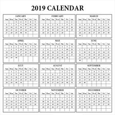 Download 2019 One Page Printable Calendar 2019 Calendars Pinterest