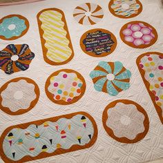 @grayquailstudio's quilt is all quilted up! Boardwalk Delight Fabrics on a Donut Delight Quilt 😀 Quilting design is called Diamonds Are Forever.  #boardwalkdelightfabrics by @made_everyday #donutdelightquilt pattern by @penandpaperpatterns. #quilting #innovalongarmquilting #computerizedquilting #innova #longarmquilting #augustlanequilting #customerquilt #nofilter #awesome #handmade #donuts #🍩