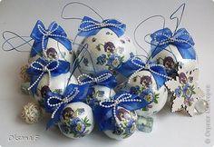 Декор предметов Новый год Декупаж Елочные шары Анютины глазки Салфетки фото 1
