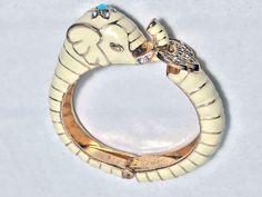 Vtg Lucky Elephant Bracelet / Gold Tone Ivory Enamel Bangle / KJL Style Hinged Clamper Bracelet / Blue and Clear Rhinestones / White Enamel