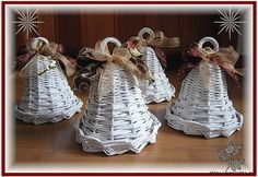 3-sam1426 (671x461, 240Kb) Noel Christmas, Christmas Crafts, Xmas, Christmas Ornaments, Seasonal Decor, Holiday Decor, Recycled Gifts, Newspaper Basket, Weaving Designs