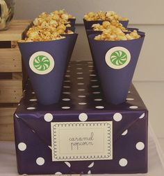 great idea to add to a dessert table #dessert #table #buffet #party #shower #baby #bridal #wedding #caramel #corn #popcorn #cone #blue #green #white #box #cone