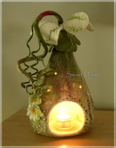 Fairy Flower Felt Lamp table light fairytale candle by SmartDsign,