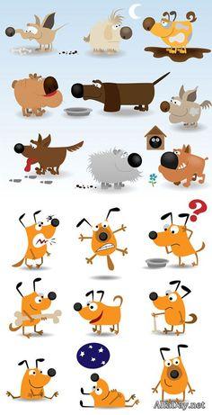 Забавные рисованные собаки, силуэты собак - векторный клипарт