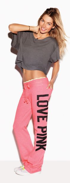 In love with lounge. PINK Crop Tee and University Pant.