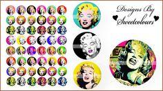 Marilyn Monroe Digital Collage (129) - 1 Inch Circle