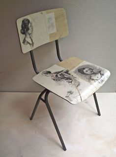 Drawings collected from markets applied to vintage Drawing Study Chair - Women portraits. Decoupage Chair, Painted Furniture, Furniture Design, Industrial Office Chairs, Comfortable Living Rooms, Chair Bench, Swivel Chair, Chair Cushions, Soft Sculpture