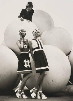 Fashion photograph by Bruno Benini of models Graeme Jones, Robin Fong and Lucinda Wills. 1972