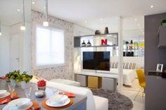 - Yolanda Vautier Franco e Cristina Franco - ed. Studio Apartment Layout, Studio Apartment Decorating, Apartment Interior Design, Room Interior, Living Room Tv, Living Room Modern, Studio Tv, Small Studio, Room Partition Designs