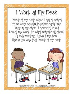 I Work At My Desk Classroom Poster : File Folder Games at File Folder Heaven - Printable, hands-on fun! Classroom Helpers, Classroom Procedures, Classroom Rules, Classroom Posters, Future Classroom, Classroom Organization, Classroom Management, Classroom Resources, Beginning Of School