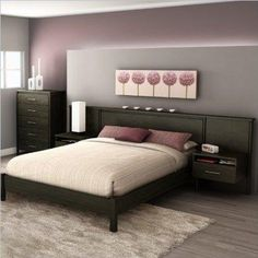 34% Off was $743.00, now is $490.28! South Shore Gravity Queen Platform Bed and Headboard/Nightstand Kit in Ebony Finish
